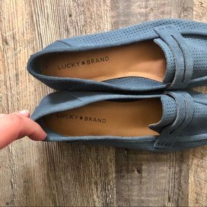 Lucky Brand Shoes - Lucky Brand | Caylon Blue Suede Perforated Flats